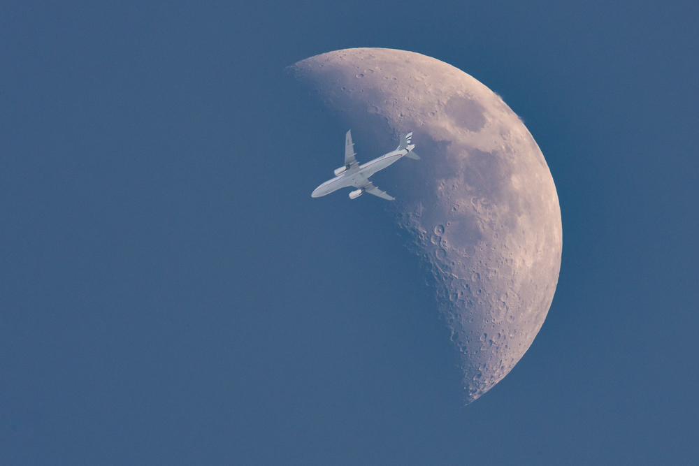 Aircraft in Front of the Moon