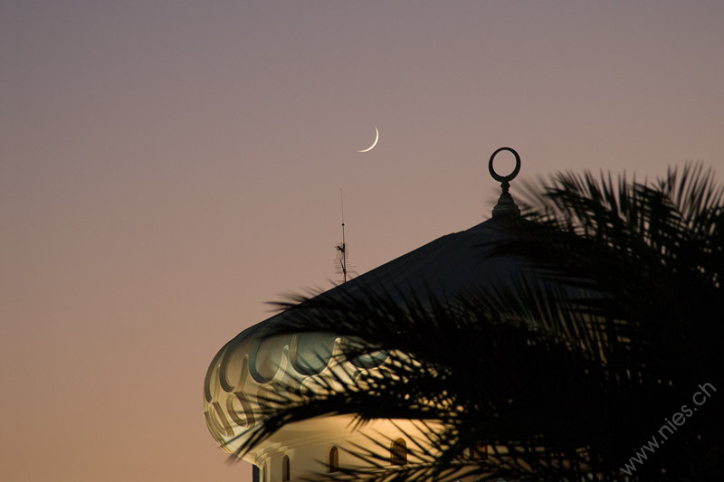 Image 43/46: Crescent Moon above Mosque