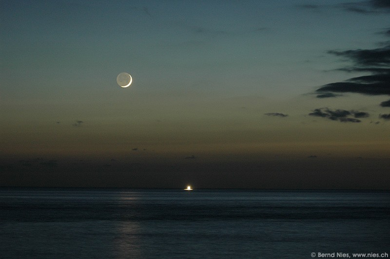Moon Crescent and Boat