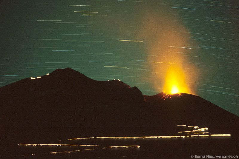 Startrails with Volcano