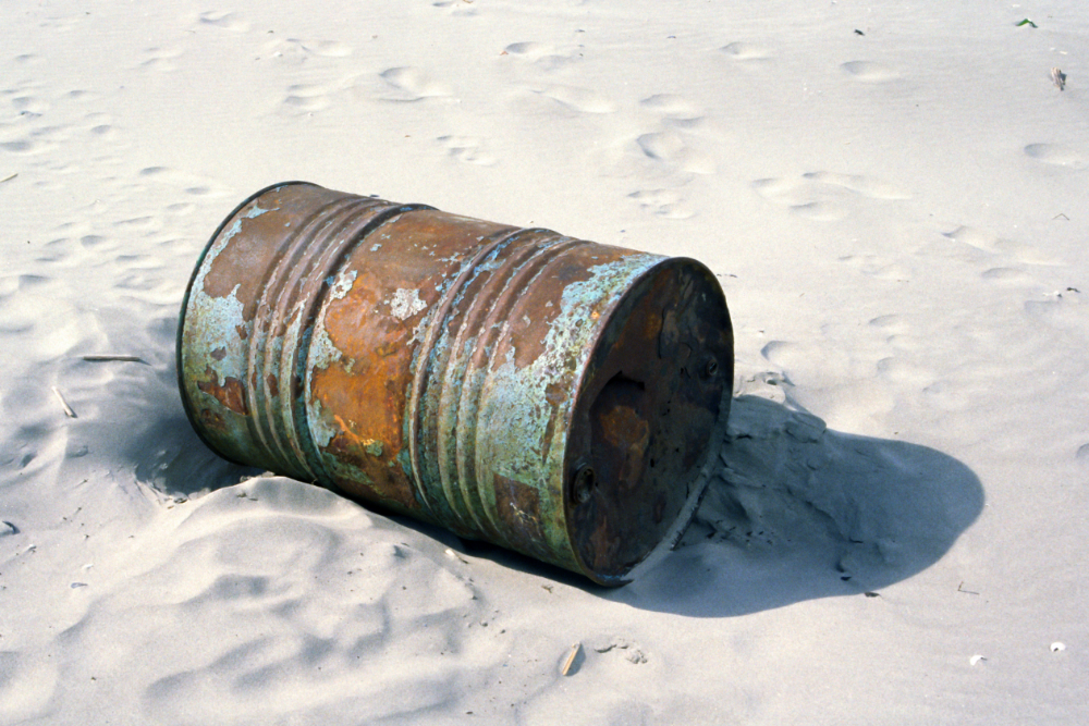 Barrel on a beach