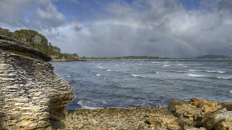 Golden Bay with Rainbow