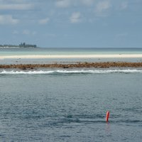 Surface marker buoy in lagoon