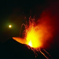 Stromboli Eruption with Moon