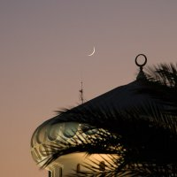 Crescent Moon above Mosque