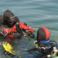Two divers in water